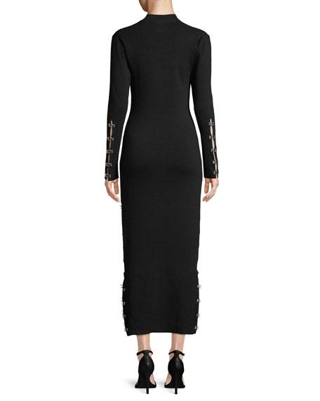 Wool Turtleneck Eyelet Midi Dress