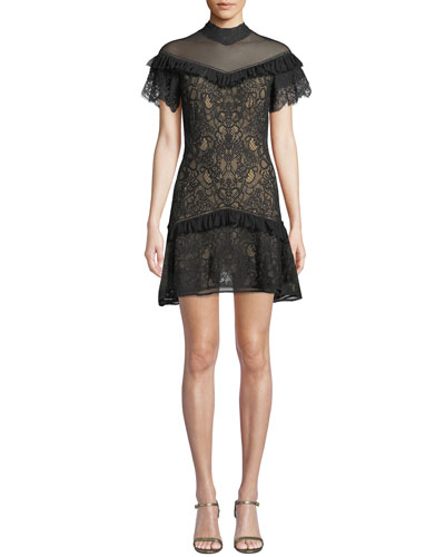 Mock-Neck Lace Ruffle Short Dress