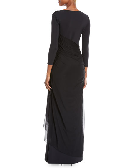 Chiara Boni La Petite Robe Amaia Ruched Gown w/ Tulle Overlay