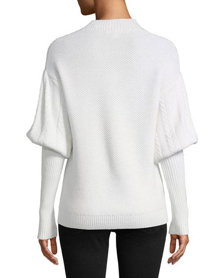 Tassel Knit Wool Puff-Sleeve Sweater