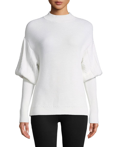 Jonathan Simkhai Tassel Knit Wool Puff-Sleeve Sweater