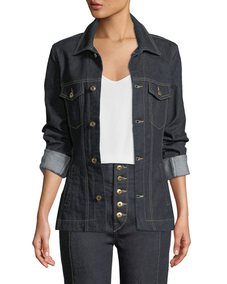 Jonathan Simkhai Rinsed Denim Button-Front Basque Jacket