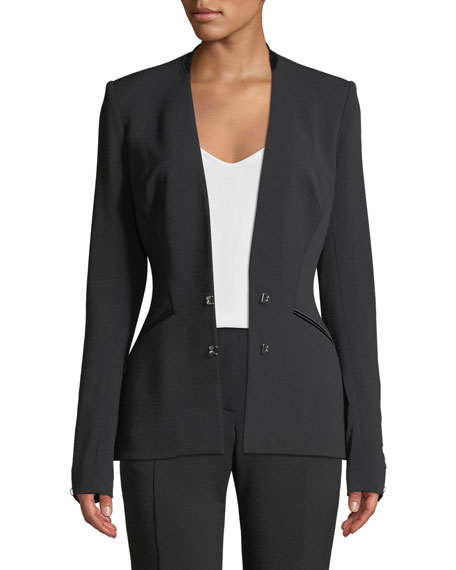 Stretch Wool Hook-Front Basque Blazer