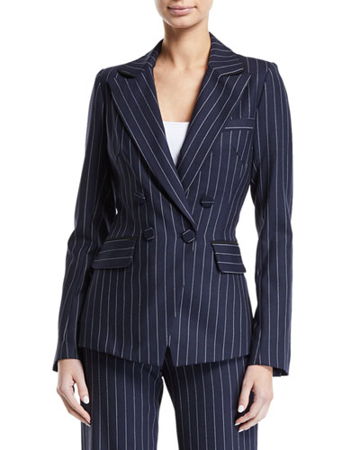 Tailored Pinstripe Hook-Front Blazer