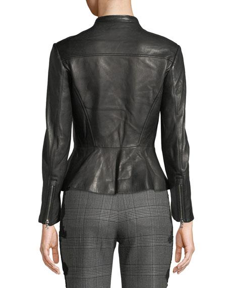 Jonathan Simkhai Zip-Front Leather Moto Jacket