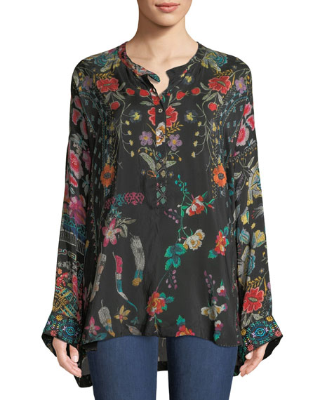 Johnny Was Ellamo Floral-Print Boxy Top, Petite