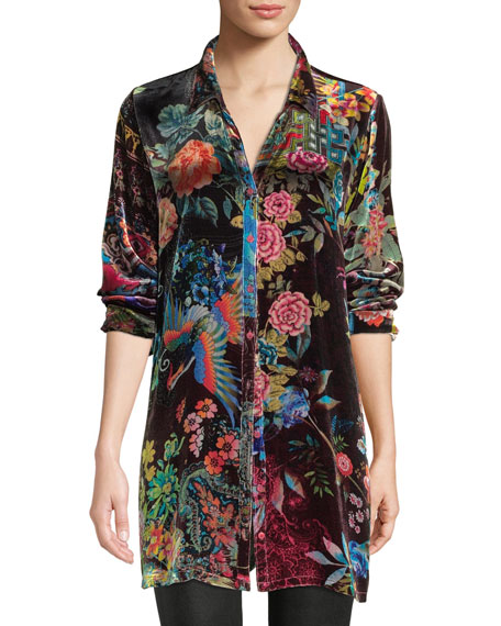 Johnny Was Dream Floral-Print Velvet Easy Tunic, Plus