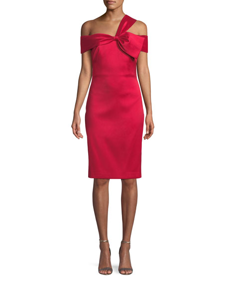 Badgley Mischka Collection Asymmetric Bow-Shoulder Dress