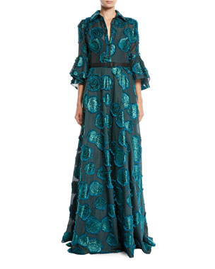 42025a73e Badgley Mischka Collection Floral Fil-Coupe Shirtwaist Gown w/ Belted Waist