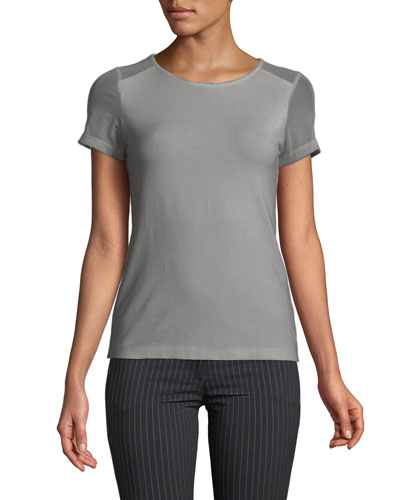 Melissa Winter Sheer-Panel Short-Sleeve T-Shirt
