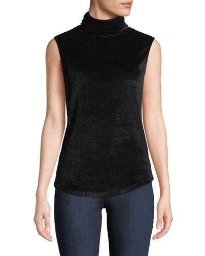 Sleeveless Velour Turtleneck Top