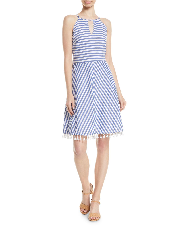 ae3c4c10ec High-Neck Striped Cotton Halter Dress w/ Tassel Hem
