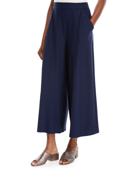 Eileen Fisher Lightweight Wide-Leg Ankle Pants