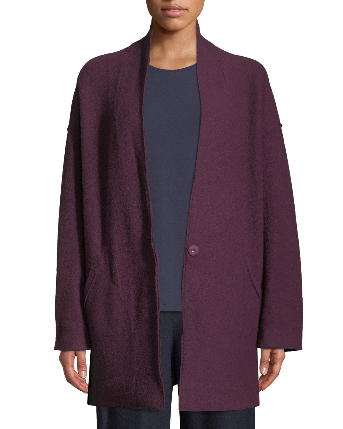 Eileen Fisher Petite Lightweight Boiled Wool Kimono Jacket
