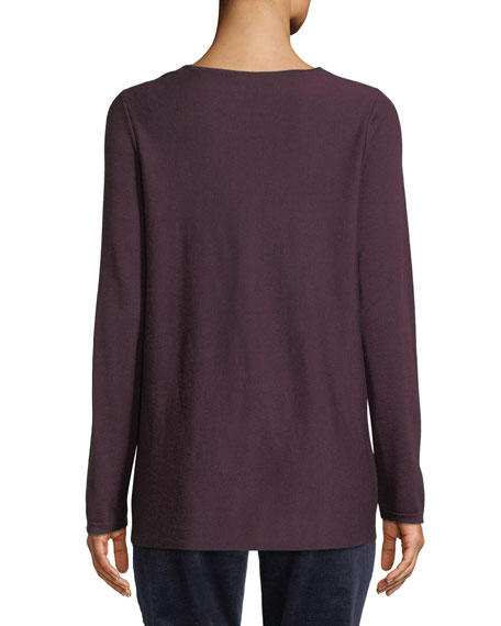 Tencel®/Silk Round-Neck Sweater, Petite