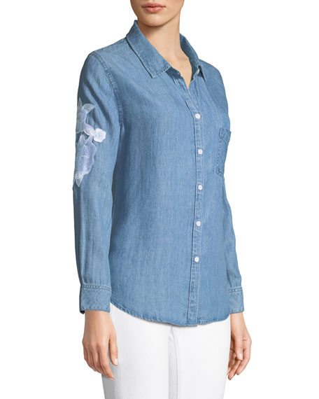 Rails Ingrid Embroidered Button-Front Linen Top