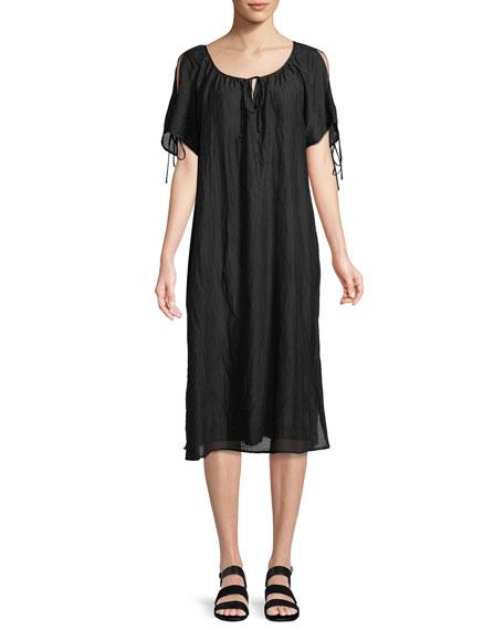 Magson Cotton-Silk Tie-Sleeve Midi Dress