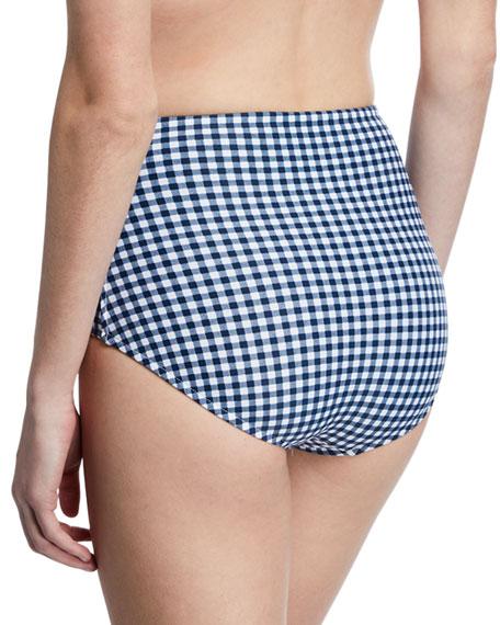 Seafolly Capri Check High-Waist Bikini Bottoms