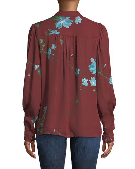 Angeletta Floral Tie-Neck Silk Blouse