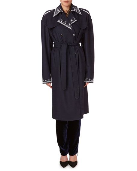 Magda Butrym Amur Beaded Large-Shoulder Trench Coat