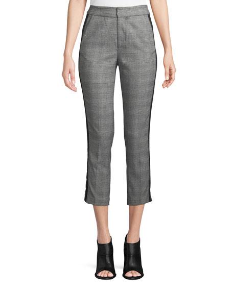 Kenadia Side-Stripe Cropped Straight-Leg Pants