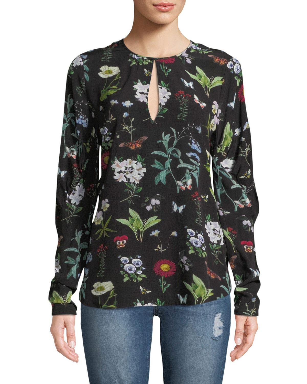 90577c163485 Joie Liseli Floral Long-Sleeve Keyhole Top | Neiman Marcus