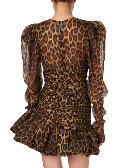 Borneo Gathered Animal-Print Flounce Mini Dress