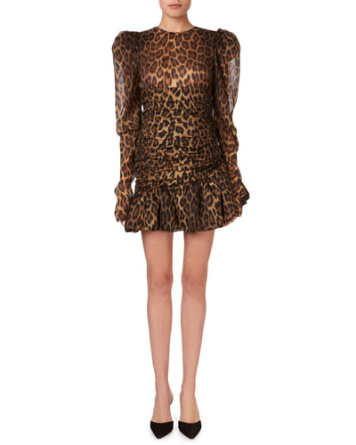 Borneo Gathered Animal-Print Flounce Mini Dress