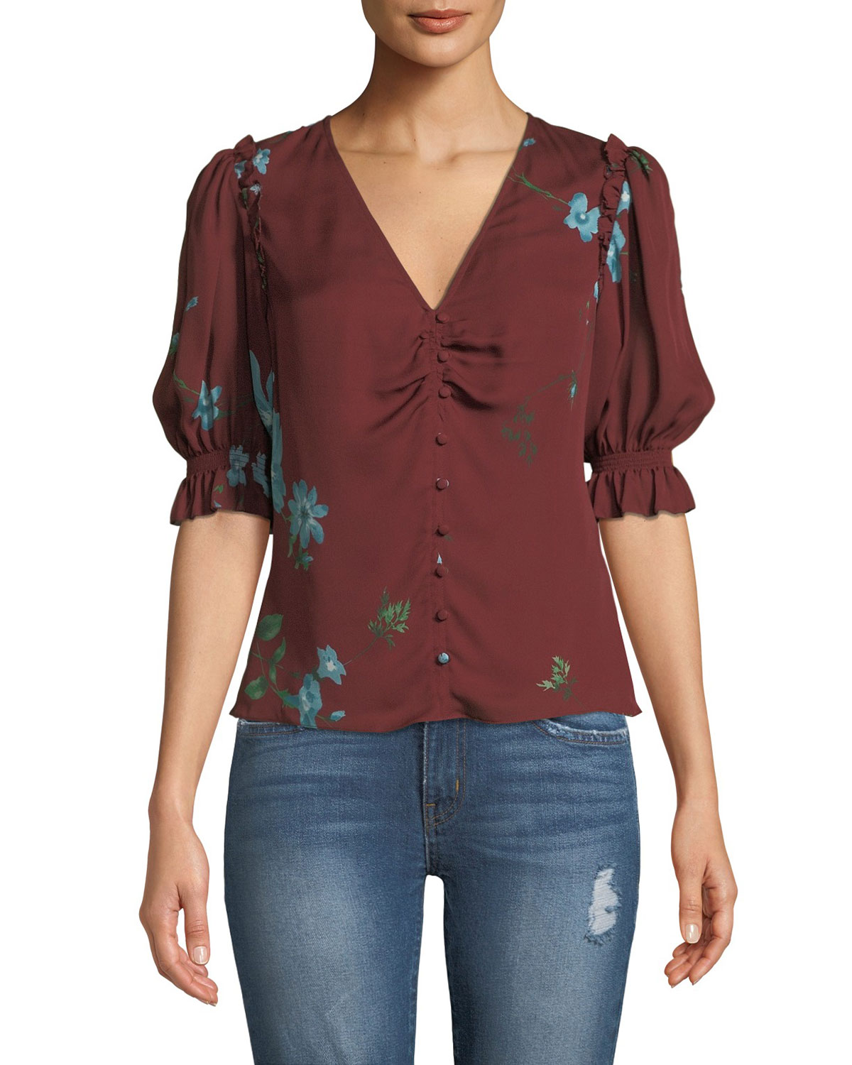 10c5d4862f1be8 Joie Anevy Floral Silk Button-Front Ruffle Top