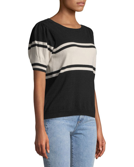 Rolana Striped Short-Sleeve Sweater