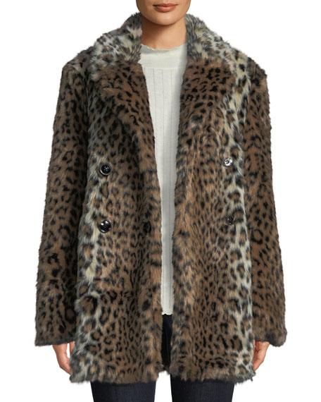 Tiaret Leopard-Print Faux-Fur Snap-Front Coat