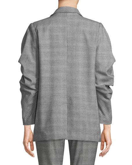 Tomika Boxy Double-Breasted Plaid Jacket