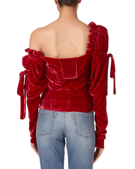 Magda Butrym Leticia Velvet One-Shoulder Bustier Top