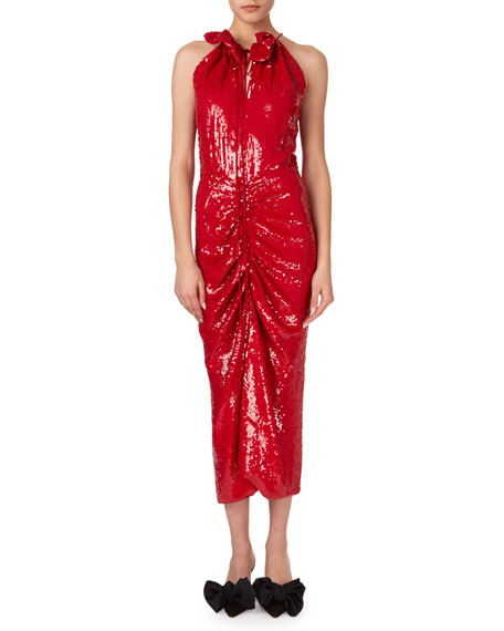 Magda Butrym Hilo Ruched Sequin Halter Midi Dress