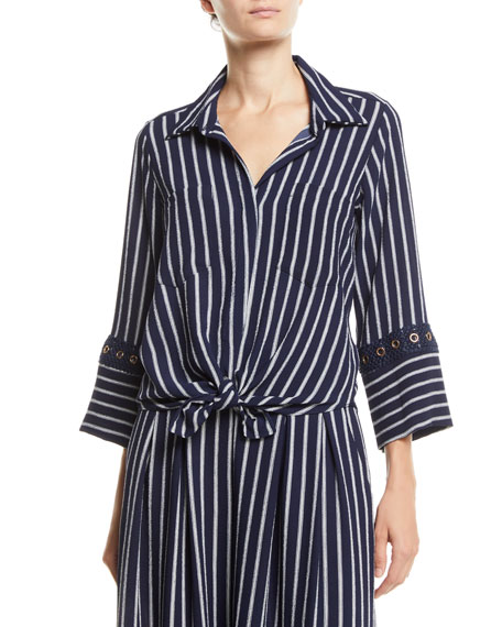 Alma Striped Button-Front Top