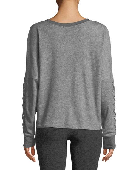 Lasso Lace-Up Draped Pullover Sweatshirt
