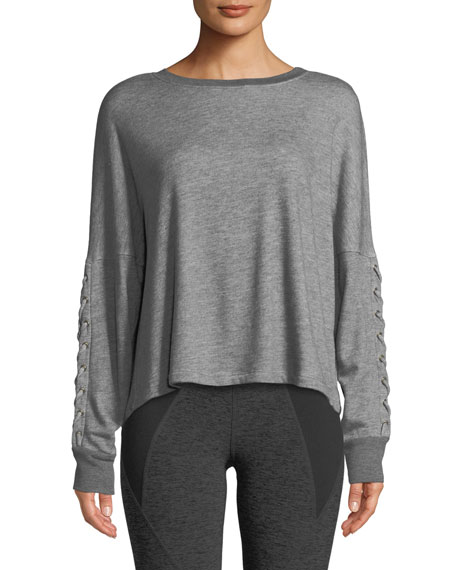 Beyond Yoga Lasso Lace-Up Draped Pullover Sweatshirt
