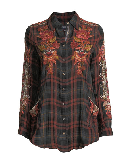 Johnny Was Plus Size Warner Painters Smocked Embroidered Plaid Button-Down Shirt