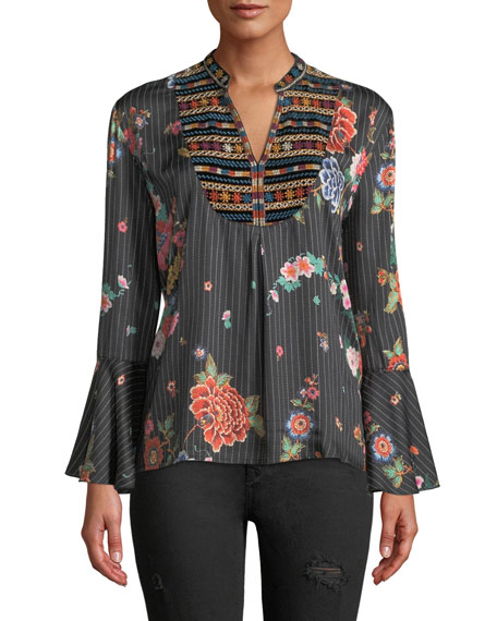 Johnny Was Spanish Steps Velvet-Trim Blouse