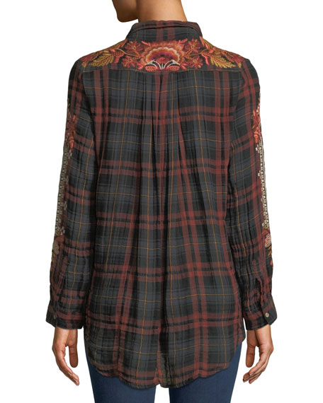 Warner Painters Smocked Embroidered Plaid Button-Down Shirt