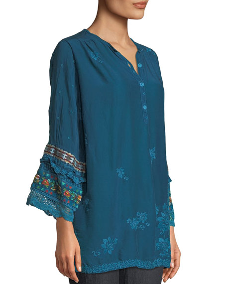 Fayan Patchwork-Sleeve Georgette Tunic