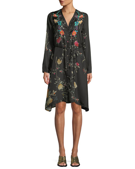 Winter Button-Front Embroidered Shirtdress with Slip, Plus Size