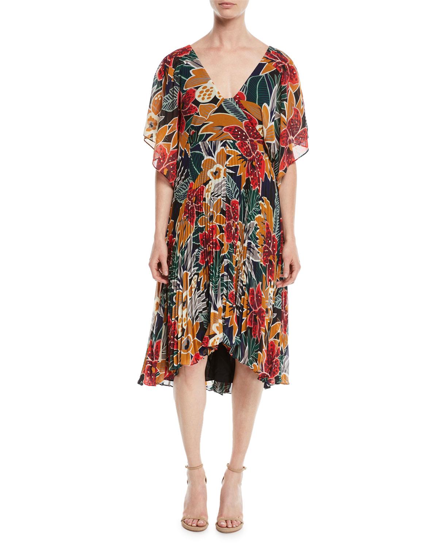 79f4dda78f06 Club Monaco Zorbina Pleated Floral Midi Dress | Neiman Marcus