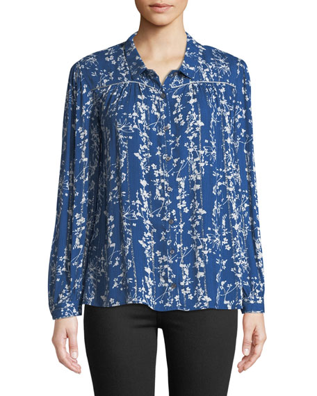 BA&SH Fiona Floral-Print Button-Front Shirt in Blue