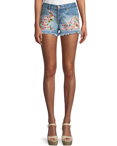 Amazing Embroidered Vintage-Inspired Denim Shorts