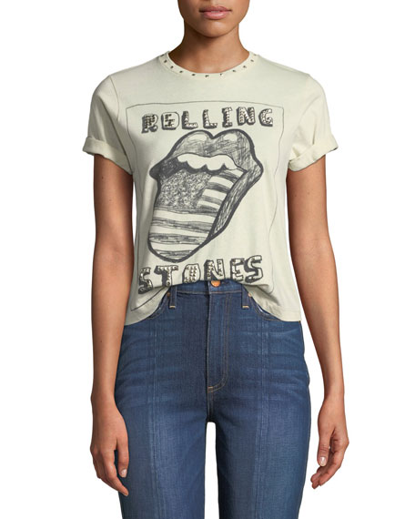 Berk Rolling Stones Studded Roll-Cuff Graphic Tee