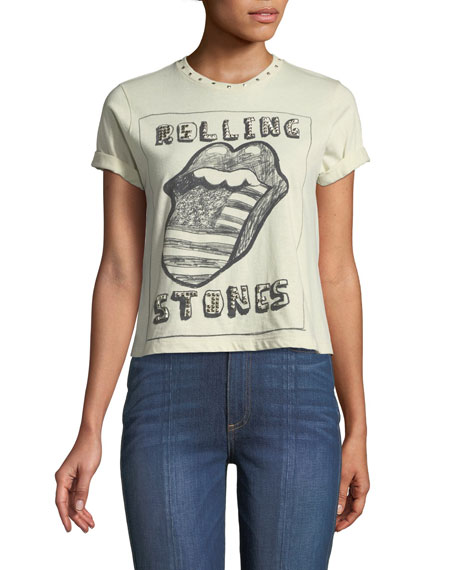 AO.LA BY ALICE+OLIVIA Berk Rolling Stones Studded Roll-Cuff Graphic Tee in White
