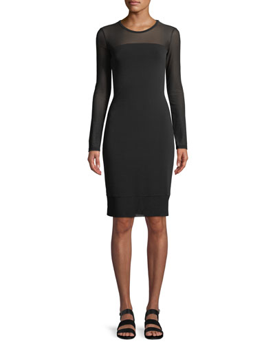 Long-Sleeve Mesh Bodycon Dress