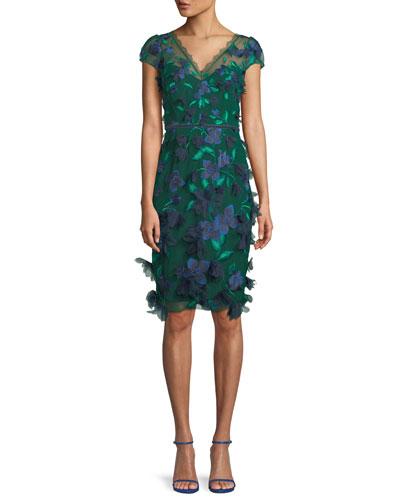 V-Neck Cocktail Dress w/ 3D Embroidery & Velvet Trim