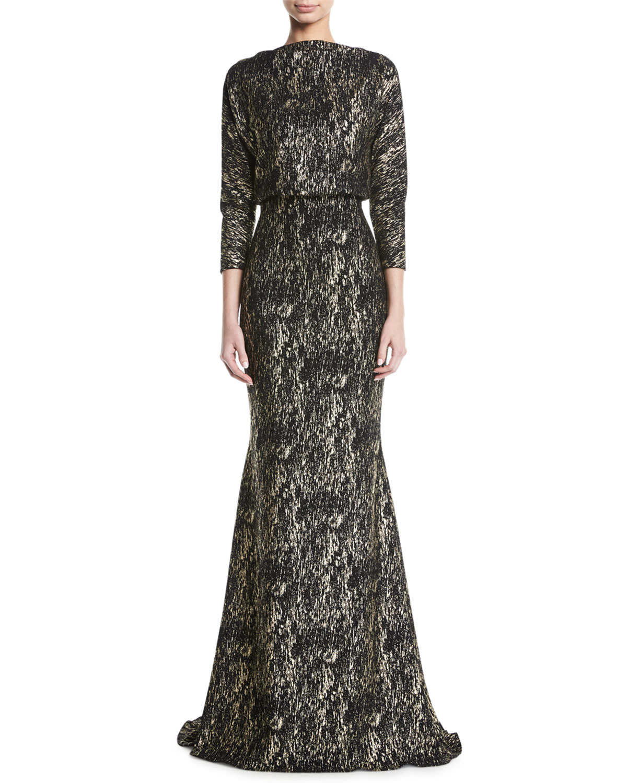 Foiled Long Sleeve Gown W Blouson Bodice